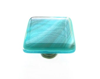 Glass Cabinet Knob in Teal, White, and Gray Fused Art Glass in a Variety of Sizes by Uneek Glass Fusions