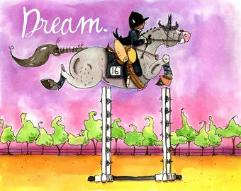 Dream.  Hunter Jumper  Horse art print. Dana's Doodles.