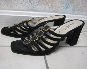 Vintage black Charles Jourdan Paris black suede sandals, Jourdan black high heels  8 1/2M, strappy summer black slip on heels, designer shoe