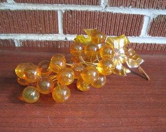 Vintage 1960s/70s Large Cluster of Amber Acrylic Grapes