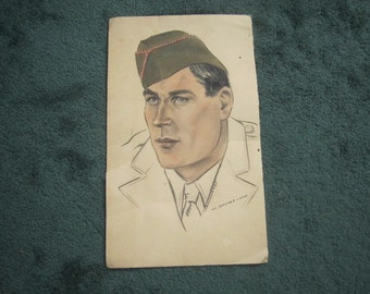 Vintage Original Signed Pastel Portrait of Identified American Soldier
