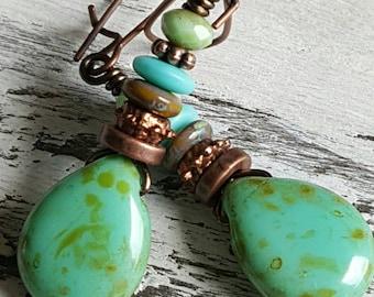 Czech Glass Earrings Boho Green Earrings Bohemian Drop Earrings Copper Dangle Green Turquoise Rustic Woodland Picasso Earrings