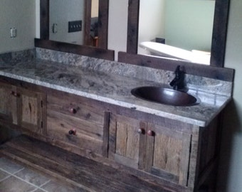 YOUR Custom Made Rustic Barn Wood Double Vanity with 4 Doors, 2 Drawers and a shelf and FREE SHIPPING - BWDV6549C