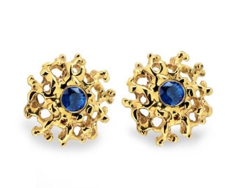 ON SALE - CORAL 14K Gold Earrings Posts Medium, Gold Posts, Gold Sapphire Earrings,  Blue Sapphire Studs Earrings, Gold Stud Earrings