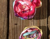 REDUCED Shabby chic floral pin corsage and boutinerre set- perfect for a non-floral alternative