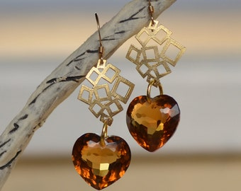 Madeira Citrine Hearts Gold Earrings.  Large Cognac Color Brazilian Citrine Gemstone Earrings. Luxury Fine Jewelry. Valentine's  Gift.