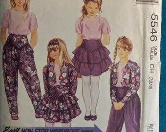 Girls lined jacket, top, skirt and pants size 7,8,10 Mc Calls 5546