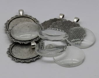 Pendant Big BEZELS Link w/GLASS Magnifying Domes Cabochon - 5 sets 10 pcs  - 35mm app. 1-3/8inch Antique Silver Bezel and Glass Cabochon