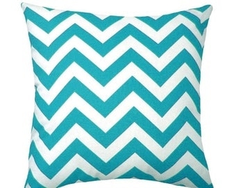 Turquoise Chevron - Zig Zag True Turquoise Decorative Pillow- Free Shipping