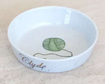 Porcelain Cat or Dog pet food dishes hand painted porcelain custom personalized bowls or dishes