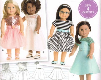 American Girl Doll Party Special Occasion Dress 18 Inch Tall Sewing Pattern Simplicity 8039 Sleeveless Flared Skirt