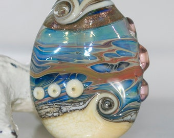 Coral Ocean Beach Handmade Lampwork Glass Focal Bead