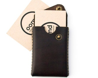Minimalist Leather Card Case - The 'Card trick' - Hand Dyed Dark Brown - Hand Stitched - FREE SHIPPING