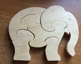 Wooden 5 piece elephant jigsaw puzzle