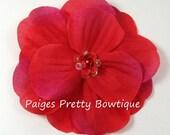 "CLOSEOUT-3"" Red Alva Flower Clip-Flower Hair Clip"