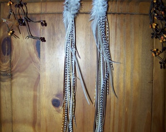 Feather Long Earrings, Black and White Feather Earrings, Real Feather Earrings, Winter, White Feathers, White Feather Earrings, Grizzly