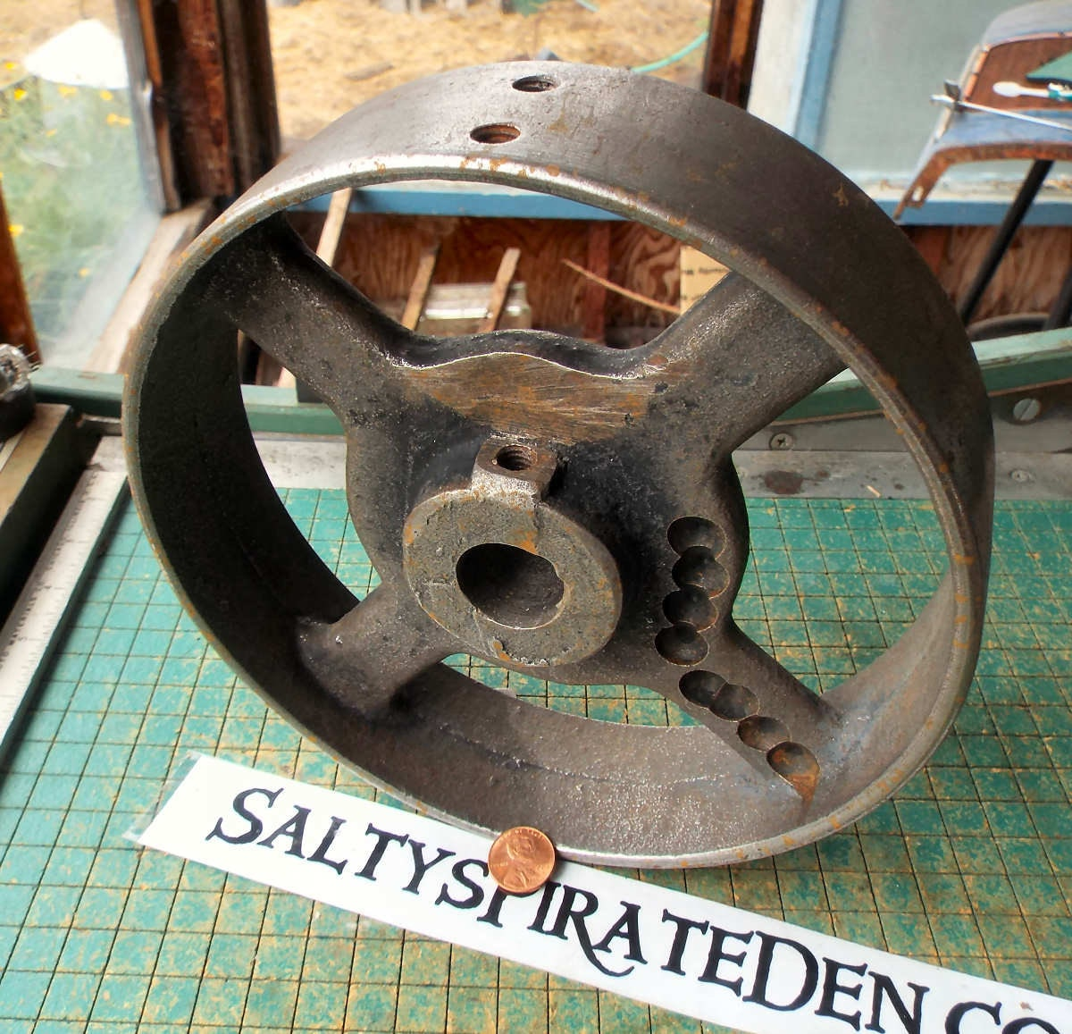 Flat Belt Pulley Old Iron Wheel Antique Belt Drive