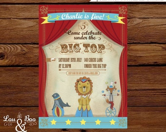 Circus Carnival Custom birthday printable party invitation