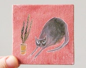 kitty & cacti / original painting on canvas