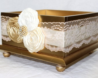 CARD BOX, Wedding Card Box, Gold Card Box, Gold Wedding, Gold and Ivory, Large Card Box, Metallic Gold, Lace, Pearls, Custom colors