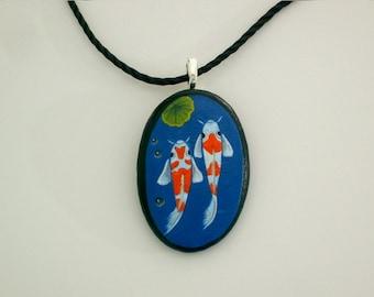 Pebble art-Koi pond stone pendant necklace-jewelry under 50-spring gift ideas-gift for gardener-painted rocks-ooak 3D art object-handmade