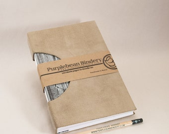 Journal, Notebook, Sketchbook or Guestbook, Unique and Hand-bound with a Tan Suede Cover and Wood Grain Patterned Endpapers