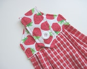Hanging kitchen towel  button top Red Strawberries   Quiltsy handmade