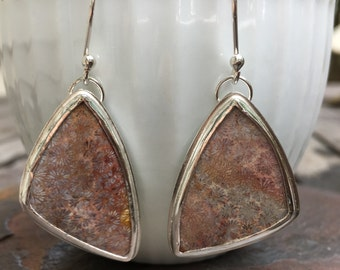 Fossilized Coral Sterling Silver Earrings, Silver Metalwork Earrings, Natural Stone Earrings