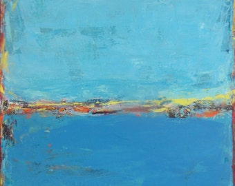 Blue Abstract Landscape Painting, Blue Art, 30 x 30 inches, Modern Art by Francine Ethier
