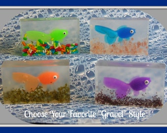 """GOLDFISH GOLD FiSH Soap Bars Kids Party Favors * Set Of 4 Assorted Colors * Choose  """"Gravel"""" Style * Party Ready & Toy Inside * Unscented"""