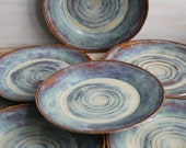 Ceramic Dinnerware Dishes Rustic Earthy Glaze Handmade Set of Six Rustic Stoneware Plates Green and Brown Pottery Dinner Plates