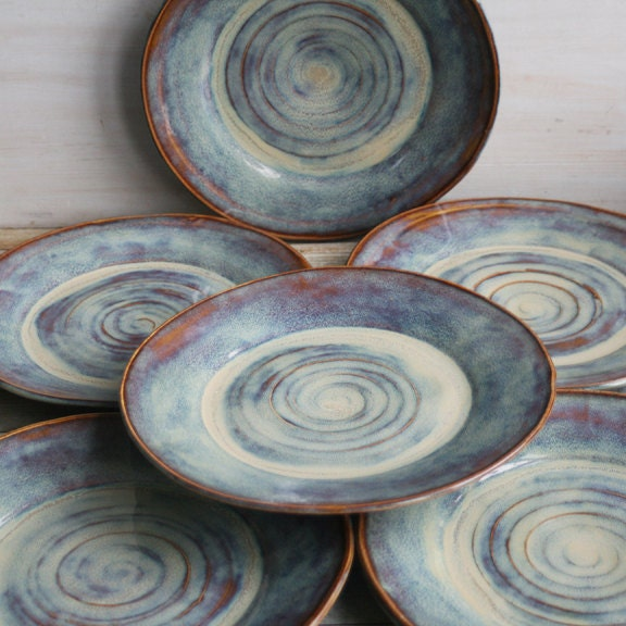 Ceramic Dinnerware Dishes Rustic Earthy Glaze Handmade Set Of