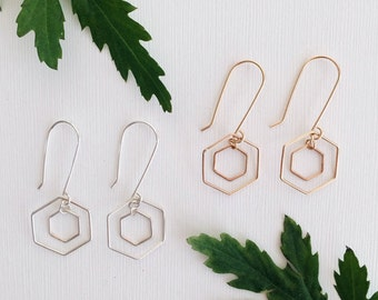 Hexagon Earrings / Sterling Silver or 14k Gold Filled / Dainty Jewelry / Gifts for Her / Geometric