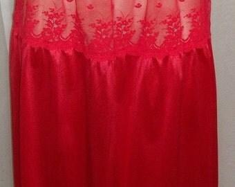 Spooktacular SALE Vintage Ashley Taylor Red Lot of Lace Half Slip Nylon Medium
