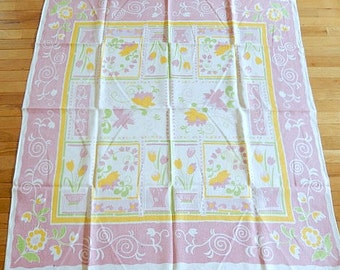 vintage pink tablecloth, linen tablecloth, 50 x 54, pink white floral, tulips, vintage linens, kitchen table, breakfast table, home decor