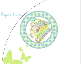 Paper Cones Easter Bunny Chic - Standard Size (16-count) NEW