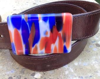 Fused Glass Belt Buckle, Artisan Handmade Belt Buckle for Snap Belt
