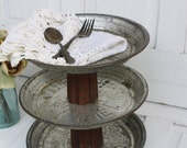 Pie Pan Tiered Stand- Repurposed- Rustic Farmhouse Pedestal- Primitive Stand