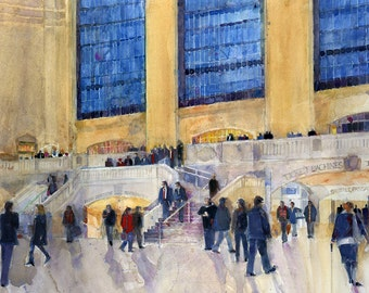 Grand Central Station Midtown - Horizontal -  Giclee or Art Print  from Original Watercolor - Den - Watercolor lovers