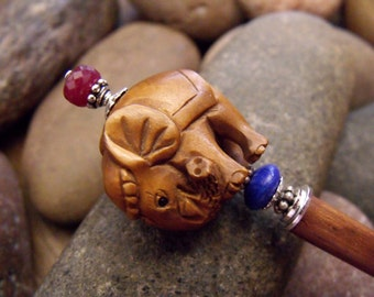 """Artisan Crafted Hairstick with Carved Wood Elephant, Genuine Ruby and Lapis Lazuli Gemstones """"Bejeweled Elephant"""""""