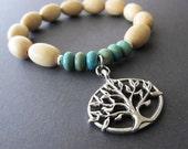Hippie Yogi Tree Of Life Charm Stretch Bracelet