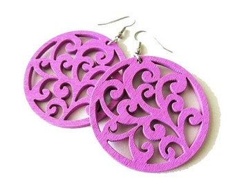 Large Purple Swirl Wooden Earrings, Bright Large Colourful Jewellery, Light Weight