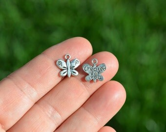 10 Silver Created for You, Butterfly Charms SC1405