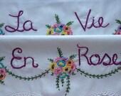 La Vie En Rose, Pillowcases, Hand Embroidered, Romantic, Couples Gift, Valentine Gift, Boho Chic