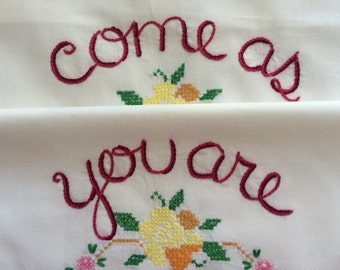 Come As You Are, Pillowcases, Kurt Cobain, Nirvana, Boho bedroom, Hand embroidered, Girlfriend gift, House gift