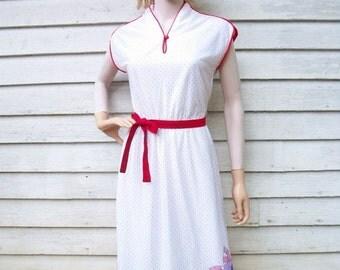 SALE 70s Border Print Dress size Small Polka Dot Disco Dress