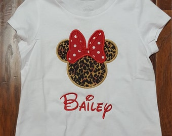 Cheetah MIss Mouse Bow Animal Magical Vacation Custom Personalized Shirts for the Whole Family