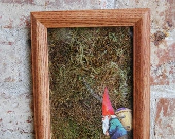 Vintage Gnome Moss Wall Art, Traveling Gnome With a Basket