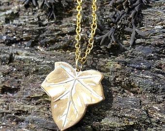 White Enameled Brass Leaf Necklace