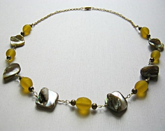 Yellow Bead and Shell Brass Necklace